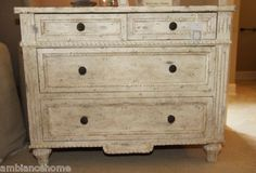Gorgeous Aidan Gray Carved Chest of Drawers Architectural Hand Painted | eBay