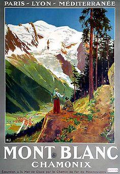 Affiche chemin de fer PLM - Mont-Blanc Chamonix