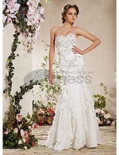 Wedding Dresses 2013-Mermaid Strapless Floor-length Satin Wedding Dress