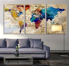 CANVAS PRINT Large World Map Canvas Art by ExtraLargeWallArt