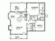 This colonial design floor plan is 1094 sq ft and has 2 bedrooms and has 2 bathrooms. Sims 4 House Plans, Pool House Plans, Small House Floor Plans, Cabin Floor Plans, Best House Plans, Tiny Cabins, Tiny House Cabin, Tiny House Living, Tiny Cottages