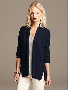 Side-Zip Textured Open Cardigan love the outfit.  good for work
