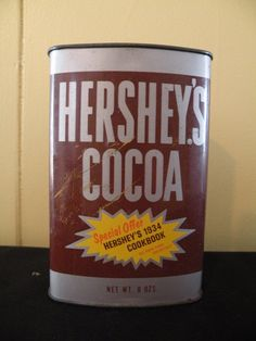 Vintage Hersey  Cocoa Can by LucyBillCollections on Etsy, $25.00  check out our other collectible tins  www.etsy.com/shop/lucillebillcollections