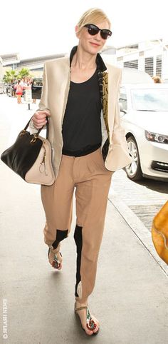 Cate Blanchett.. Stella McCartney pre-SS 2014 blazer, #Chloe trousers, Roger Vivier sandals and a Tod's bag..
