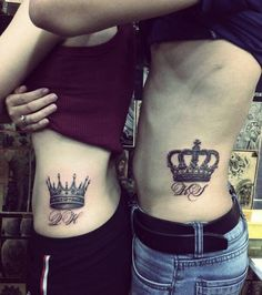 Matching Tattoo Ideas for Girls Designs for Best Friends & Family High Heel Tattoos, Girl Thigh Tattoos, Cool Chest Tattoos, Body Art Tattoos, Sleeve Tattoos, Small Crown Tattoo, Crown Tattoo Design, Him And Her Tattoos, Tattoos For Guys