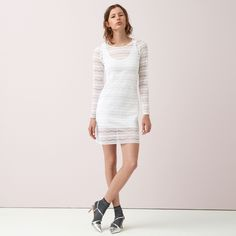 FWSS Go For Gold is a slim dress crafted from luxurious stretchy lace. Satin binding detail at neck and zipper closure at the back. Fall Winter Spring Summer, Going For Gold, White Lace, Lace Dress, Satin, Closure, Zipper, Elegant, Detail