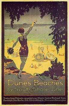 Visit Dunes Beach Vintage South Shore Line Poster Repro 24x36 | eBay