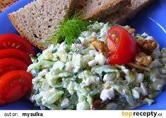 Okurkový salát s Cottage sýrem recept - TopRecepty.cz Vegetable Recipes, Cobb Salad, Grains, Food And Drink, Rice, Vegetables, Fitness, Diet, Czech Recipes