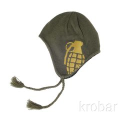 Grenade Flyer Beanie Knit Hat with #EarFlaps & Chin Tie #Grenade #Beanie