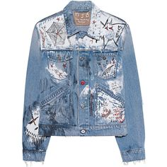 Marc Jacques Burton Distressed Slim Blue // Denim jacket in destroyed... ($2,155) ❤ liked on Polyvore featuring men's fashion, men's clothing, men's outerwear, men's jackets, mens short sleeve jacket, mens cotton jacket, mens patch jacket, mens distressed denim jacket and mens slim fit jackets