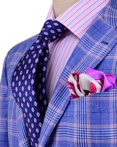 Stanley Korshak Kiton Blue and Pink Plaid Sportcoat Apparel Men's Sharp Dressed Man, Well Dressed Men, Suit Fashion, Mens Fashion, Bespoke Suit, Dress For Success, Suit And Tie, Gentleman Style, Stylish Men