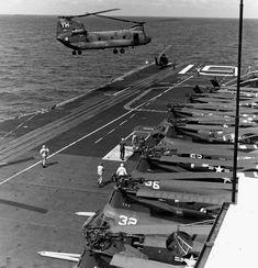Chinook landing on USS Hancock North Vietnam, Vietnam War, Uss Hancock, Essex Class, Subic Bay, Go Navy, Leyte, Flight Deck, Le Far West