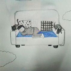 Día 17- nave🚢 La nave que me lleva al mundo de los sueños..☁☁ Será que estoy obsesionada con mi sofá y llevo toda la semana sin echarme una siesta con mi perra.. #artnestoltes #artnestoltesllotja #nave #sofa #siesta #truskaobsessed #luciferthecat #dogs #cats #dogsofinstagram #catsofinstagram #illustration #ilustracion