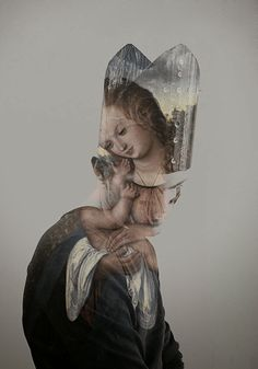 Artpope: Photos by Lurii Ladutko  LadFree (Iurii Ladutko) on deviantART  Double exposure images using iconic renaissance paintings with a person wearing a pope hat that works really Digital Artist,