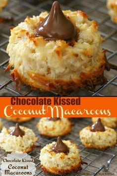 Chocolate Kissed Coconut Macaroons A light and fluffy chocolate topped cookie. Cookie Desserts, Just Desserts, Cookie Recipes, Delicious Desserts, Dessert Recipes, Cookie Bars, Cookie Dough, Holiday Baking, Christmas Baking