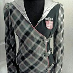 LUXIRIE JACKET LUXIRIE black/Grey jacket. Checkered design.  Luxirie is the womes brand of LRG. Jacket has 3 side-front  button closure. Inside of jacket & Hood-silk/satin like material.  Size: S. Worn once. Like-new condition. Super cute jacket. LUXIRIE Jackets & Coats
