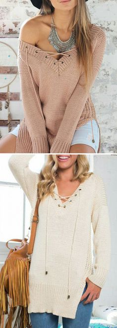 Only $22.99 | Winter Cozy Side Slit Lace Up Sweater