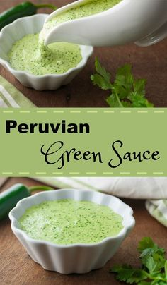Peruvian Green Sauce ~ The Kitchen Snob Peruvian Green Sauce aka Aji Amarillo sauce or Aji Verde sauce - this has a serious kick! Made with jalapenos, cilantro, aji pepper sauce & lime Peruvian Dishes, Peruvian Cuisine, Peruvian Recipes, Peruvian Restaurant, Mexican Food Recipes, Vegan Recipes, Dinner Recipes, Cooking Recipes, Ethnic Recipes