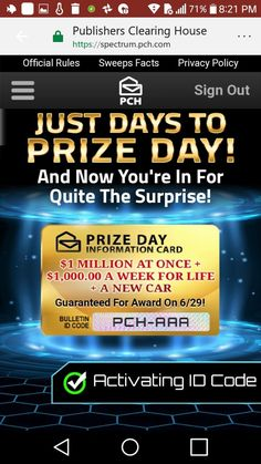 Publishers clearing house i jose carlos gomez claim prize day promotion card bulletin id code PCH-AAA for activation and to win it. Mr Gomez may I join you. Best of luck to you.
