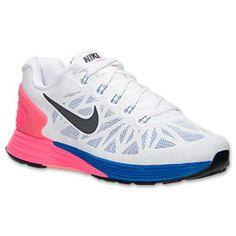 Women's Nike Lunarglide 6 Running Shoes| Finish Line | White/Black/Hyper Pink/Hyper Cobalt