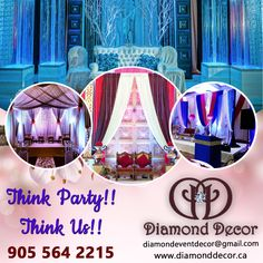 The diamond decor is the professional event decor company in Mississauga, Canada. We decorate all types of events like wedding, birthdays, theme parties, event parties, anniversaries, corporate event, sweet 16, baby showers, etc. Talk to us today 905-564-2215. Theme Parties, Party Themes, Birthday Parties, Diamond Decorations, Stage Decorations, Dream Party, Anniversary Decorations, Party Venues, Milestone Birthdays