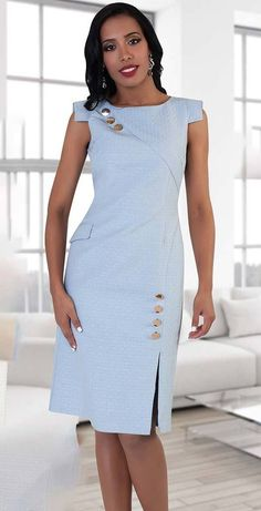 Chancele Dress - Church Suits For LessGorgeous Clothes on african fashion S Biggest Fashion Crimes Code: Really like african fashion outfitsGorgeous One Piece Women Dress Embellished with Buttons And Asymmetrical Cap Sleeves Grea Dress Outfits, Casual Dresses, Fashion Dresses, Maxi Dresses, Fashion 2017, Fashion Styles, Fashion Trends, Womens Dress Suits, Suits Women