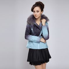 A gift for christmas.Free Shipping Gradient Color Short Down Jacket Women Thickening The Winter Coat Woman Fashion Blue/Orange/Pink/Beige White Duck Outerwear Sale.Sale:$76.44.Surface material: 100% polyester fiber.  In material: 100% polyester fiber.  Bravery cloth: 100% polyester fiber.  Packing: 90% white duck down 10% feather.  Ingredients: fox wool (collar).  Thick and thin index: a little thick.