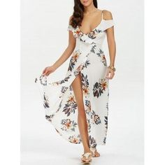 Free shipping 2018 High Split Flounce Floral Long Dress WHITE L under $20.51 in Maxi Dresses online store. Best High Waisted Skirt and Sheath Dress Long for sale at Dresslily.com. #bestonlinestoresforskirts