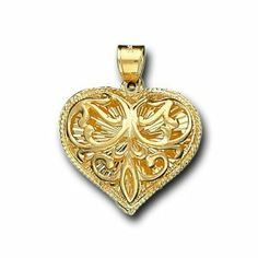 14K Solid Yellow Gold Heart Love Charm Pendant IceNGold. $334.95