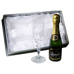 Engraved Crystal Flute and Champagne Gift Set  from www.personalisedweddinggifts.co.uk :: ONLY £39.95