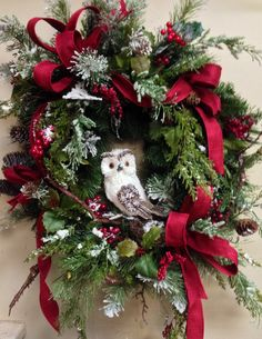 Owl christmas wreath