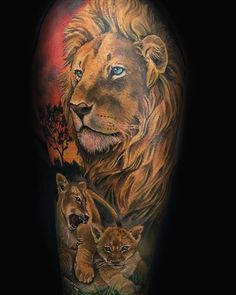 What does lion and cub tattoo mean? We have lion and cub tattoo ideas, designs, symbolism and we explain the meaning behind the tattoo. Lion Cub Tattoo, Cubs Tattoo, Lion Head Tattoos, Lion Tattoo Design, Leo Tattoos, Tattoo Designs, Tiger Tattoo, Animal Tattoos, Body Art Tattoos