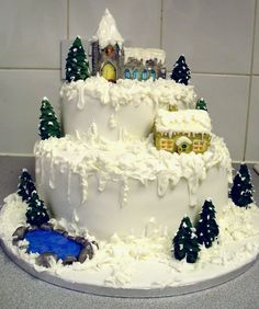25 Creative Christmas Cake Decoration Ideas and design examples Christmas Cupcakes Decoration, Christmas Cake Designs, Christmas Cake Topper, Christmas Cakes, Merry Christmas, Christmas Birthday, Christmas Desserts, White Christmas, Cake Cookies