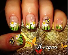 Spring grass and flowers manicure