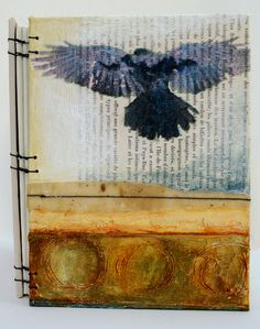 When the Blackbird Flew is a handbound journal with mixed media covers. The artist is Bridgette Guerzon Mills.