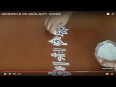 Sacred Symbols to Invite Goddess Lakshmi, Pooja Kolam, Daily Pooja Room Rangoli, Laxmi Pooja Rangoli Designs Simple Diwali, Rangoli Designs Flower, Free Hand Rangoli Design, Small Rangoli Design, Rangoli Border Designs, Colorful Rangoli Designs, Rangoli Ideas, Rangoli Designs Images, Beautiful Rangoli Designs