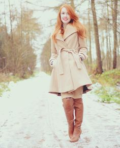 camel coat and tan boots