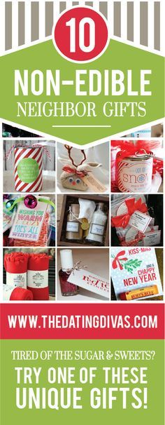 10 Non-Edible Christmas Neighbor Gifts- I love this list. After all of those plates of cookies, I get sugared-out. Guessing my neighbors do to.