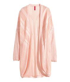 Loose pattern-knit cardigan in pastel pink. | H&M Pastels
