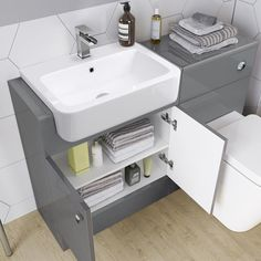 Harper Right Hand Shower Bath & Gloss Grey Combined Vanity Unit Suite - Florence Pan Master Bathroom Shower, Fitted Bathroom, Attic Bathroom, Downstairs Bathroom, Grey Bathrooms, Bathroom Layout, Small Bathroom, Bathroom Ideas, Bath Shower