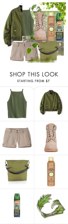 """""""The Green goer"""" by alexandm ❤ liked on Polyvore featuring Mountain Khakis, Timberland, Sun Bum, Bernard Delettrez, contestentry and glamping"""