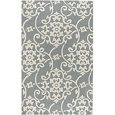 $165 on overstock. Hand-tufted Grey Floral Rug (5'x8'). Would love a bold graphic like this in the foyer.