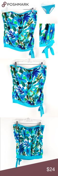 Off the shoulder Top n Bottom Tankini Swimsuit Off the shoulder Top n Bottom Tankini Swimsuit. Purchased at a swim boutique on vacation. Tags ripped off but it is brand new and never worn!!  Color is true to pics. Bright blue and green Hawaiian kind of style with side tie detail. Has cup support and comes with both the top and bottom. Swim Coverups