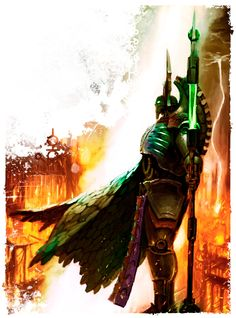 "A Necron Lord is the most sophisticated of the ancient race of soulless xenos known as the Necrons. A Necron Lord serves as the commander and energy supply for the much larger Necron armies composed of the standard Necron Warriors. When the Necrontyr gave up their organic bodies to serve the C'tan, they transferred their consciousnesses into bodies made of the living metal ""Necrodermis""."