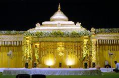 Venkateswara Flower Decors (VFD) provides Reception Stage, Hall & All Wedding Decoration Services in Chennai. Indian Wedding Stage, Wedding Stage Design, Indian Wedding Planning, Wedding Stage Decorations, Big Fat Indian Wedding, Indian Weddings, Engagement Decorations, Backdrop Decorations, Balloon Decorations