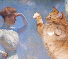 """Frank Weston Benson """"Sunlight"""": Now it becomes evident at what the model, the artist's daughter Eleanor, is actually gazing so attentively: Fat Cats, Cats And Kittens, Kitty Cats, Baby Painting, Impressionist Artists, Funny Cats, Cats Humor, Funny Horses, Ginger Cats"""