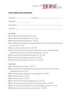 Relocation Checklist  Use This Handy Guide Next Time You Move Your Horse To  A