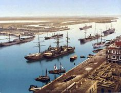 Suez Canal at Port Said in 1890.