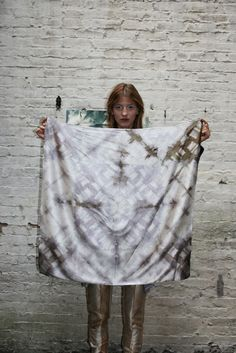 Cara Marie NYC--Hand dyed naturally with logwood, madder, tumeric and iron sulphate with an itajime shibori print.