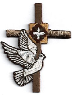 Cross - Holy Spirit - Brown W/White Dove Embroidered Iron On Applique Patch #Unbranded